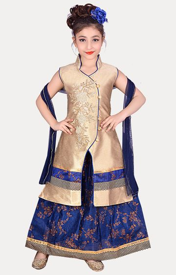 KBKIDSWEAR | Blue Full Length Party Wear Lehenga Choli With Dupatta Set