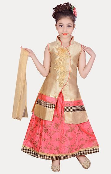 KBKIDSWEAR | Pink Full Length Party Wear Lehenga Choli With Dupatta Set