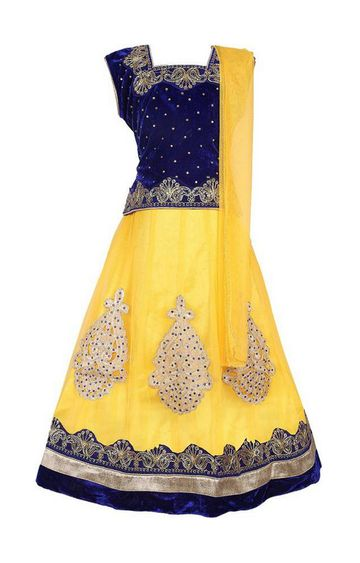 KBKIDSWEAR | Yellow Full Length Party Wear Lehenga Choli With Dupatta Set
