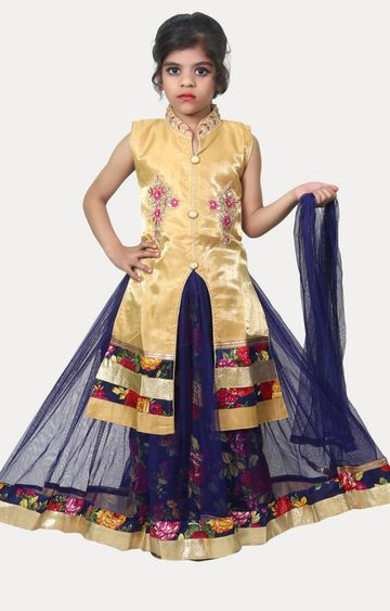 KBKIDSWEAR | Gold and Blue Printed Lehenga