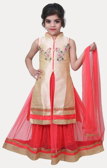 KBKIDSWEAR | Coral and Beige Printed Kurta and Lehenga Set