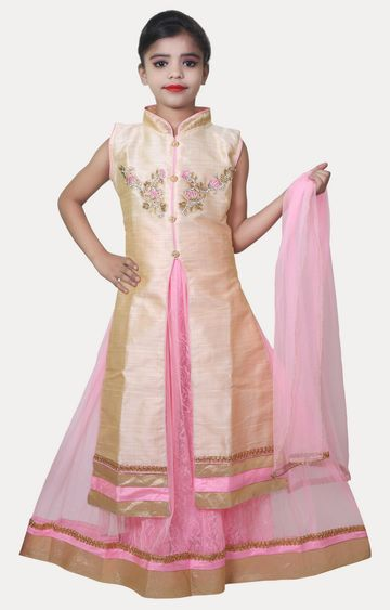 KBKIDSWEAR | Pink and Beige Printed Kurta and Lehenga Set