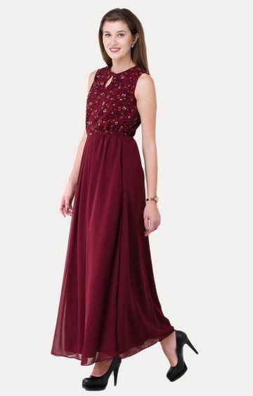 V&M | Maroon Printed Maxi Dress