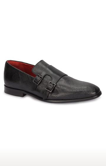 Ruosh   Black Monk-strap Shoes
