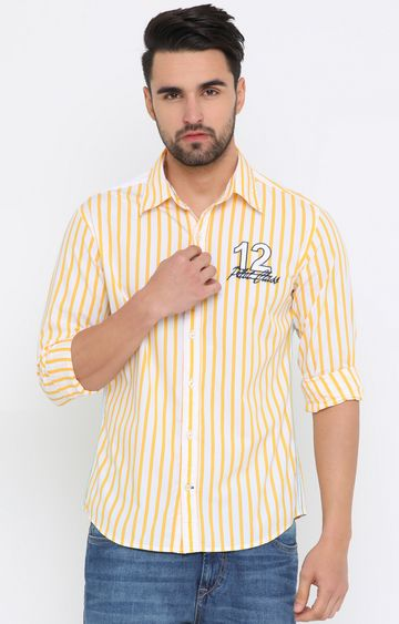 Flyrs Club   White and Yellow Striped Casual Shirt