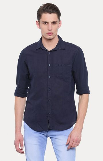 Jackal Berry | Navy Solid Casual Shirt