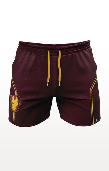 PLANET SUPERHEROES | Burgundy Iron Man Mask Logo Shorts
