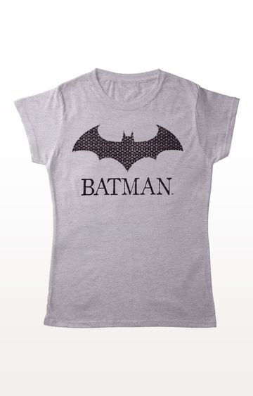 PLANET SUPERHEROES | Grey Batman - Logo with Name T-Shirt