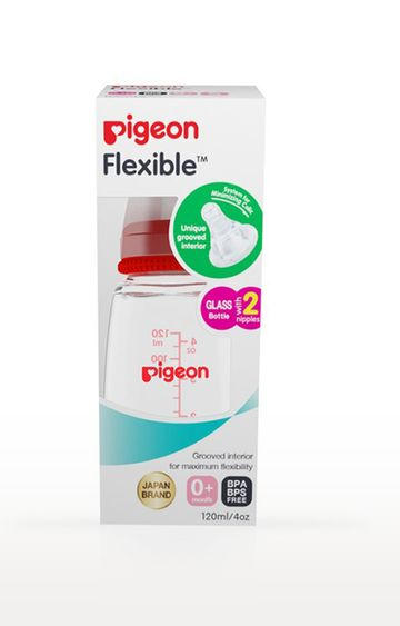 Mothercare   Red Pigeon Glass Feeding Bottle - 120 ML