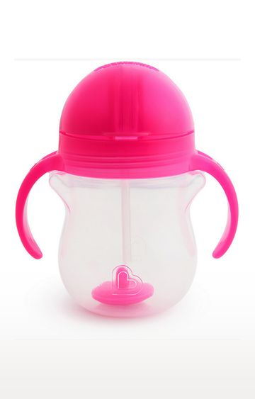 Mothercare   Munchkin 7Oz Any Angle Weightedstrawtrainer-Pink