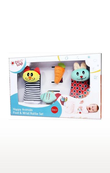Mothercare | Biba Toys Happy Animals Wrist Foot Rattle In Gift Box