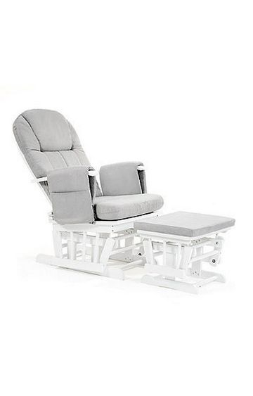 Mothercare | Reclining Glider Chair - White with Grey Cushion