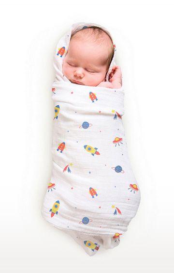 Mothercare | Rabitat Pamper Soft Muslin Swaddles - Space Rocket