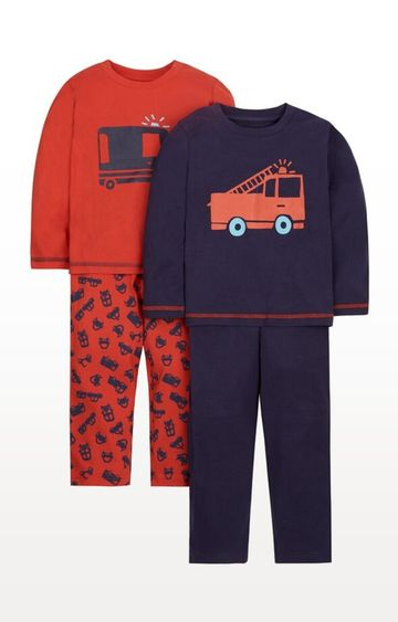 Mothercare | Navy Printed Fire Engine Pyjamas - Pack of 2