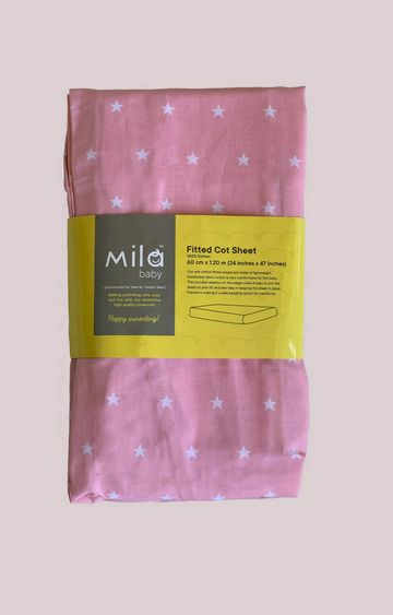 Mothercare | Mila Baby Pink Stars Fitted Cot Sheet Small