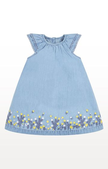 Mothercare   Chambray Dress With Embroidered Hem