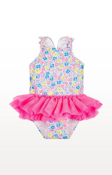 Mothercare | Neon Ditsy Floral Tutu Swimsuit