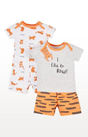 Mothercare | Orange Printed Tiger Shortie Pyjamas - Pack of 2