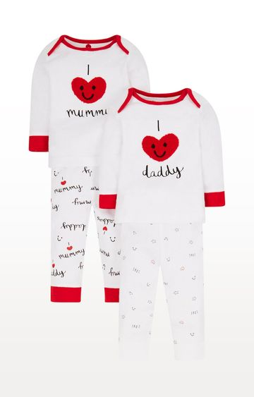 Mothercare   White and Red Printed Nightsuit - Pack of 2