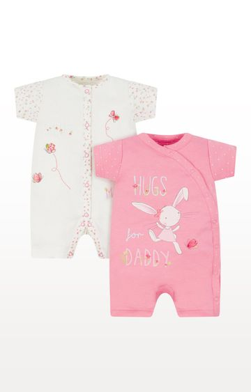 Mothercare | White and Pink Printed Romper - Pack of 2