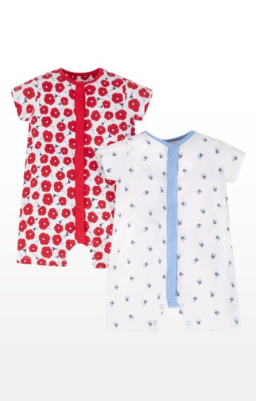 Mothercare | Red and Blue Floral Rompers - Pack of 2