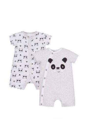 Mothercare | White and Black Printed Romper - Pack of 2
