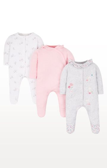 Mothercare   White, Pink and Grey Printed Romper - Pack of 3