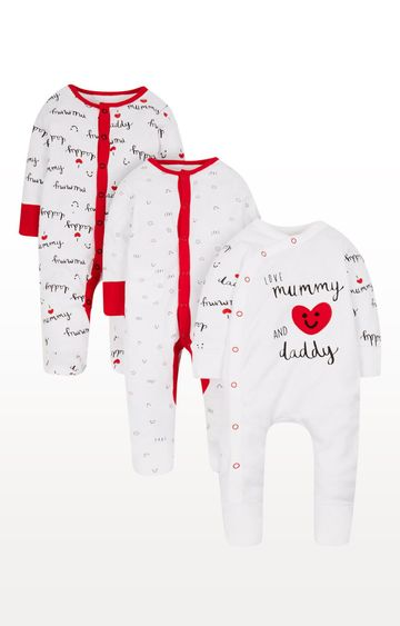 Mothercare | White and Red Printed Romper - Pack of 3
