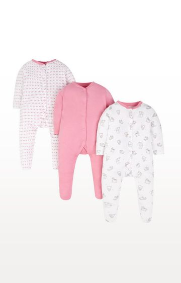 Mothercare   Heart Sleepsuits - 3 Pack