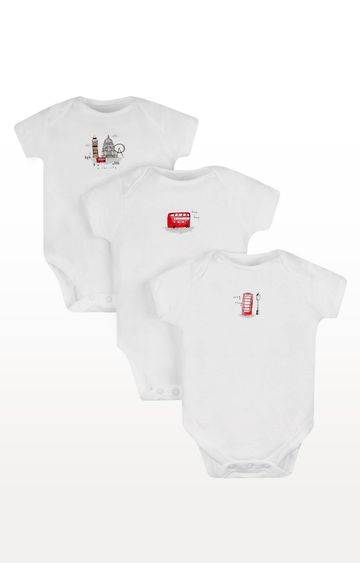 Mothercare   White Printed Romper - Pack of 3