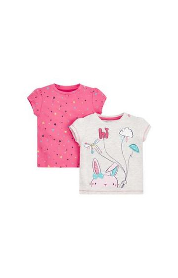 Mothercare | Grey and Pink Printed Top - Pack of 2