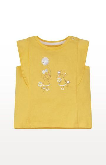 Mothercare | Yellow Girl Frill-Sleeve T-Shirt