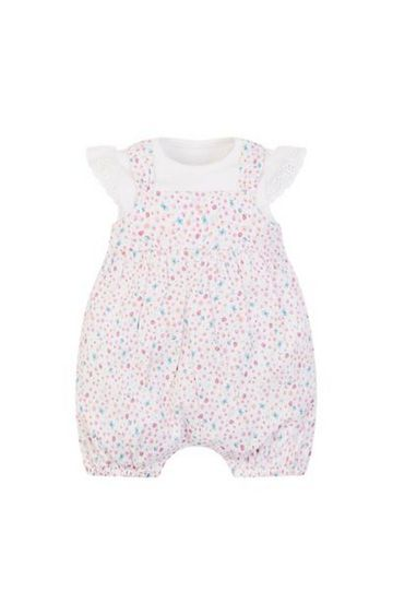 Mothercare   White and Pink Printed Romper