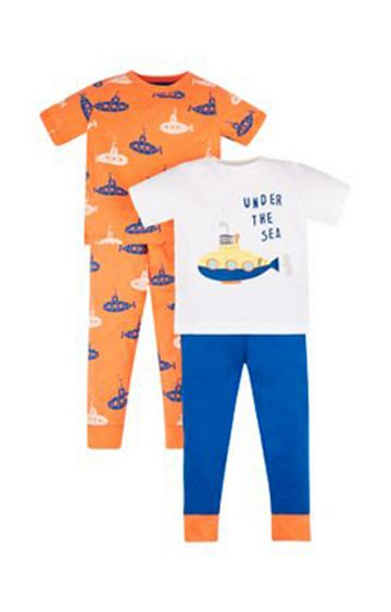 Mothercare | Orange and Blue Printed Pyjamas - Pack of 2