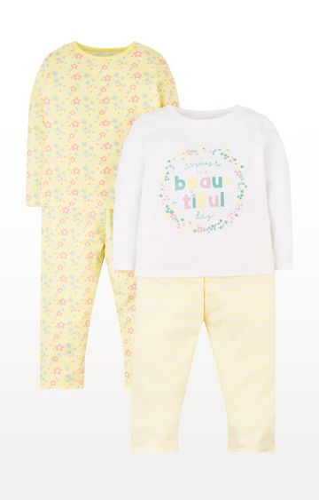 Mothercare | Yellow Printed Sleepwear Pyjamas - Pack of 2