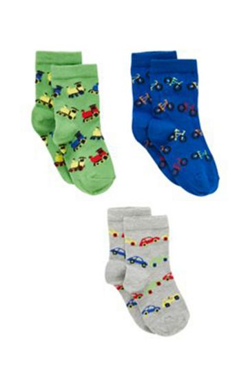 Mothercare | Green, Blue and Grey Printed Socks - Pack of 3
