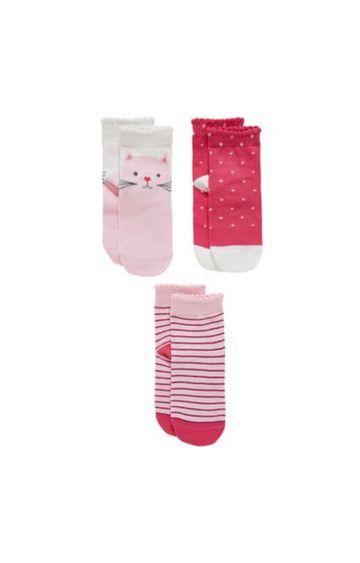 Mothercare   Pink Printed Socks - Pack of 3