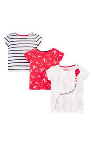 Mothercare | White and Red Printed Top - Pack of 3