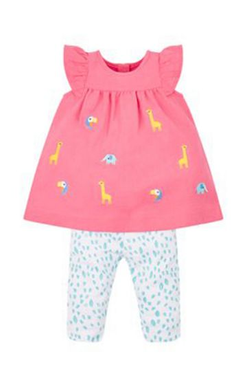 Mothercare | Coral and White Printed Animal Dress and Leggings Set