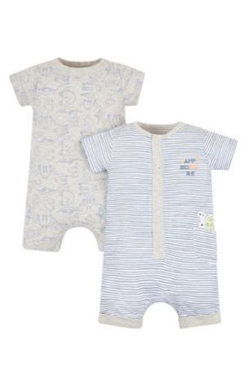 Mothercare | Grey and Blue Printed Romper - Pack of 2