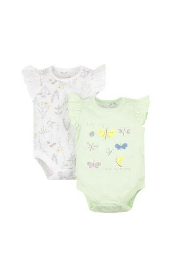 Mothercare   White and Green Printed Rompers - Pack of 2