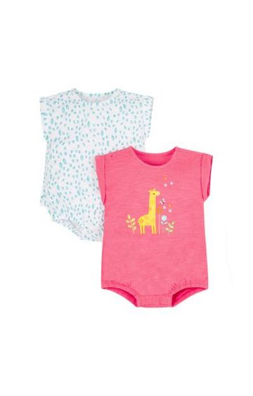 Mothercare | Pink and Blue Printed Rompers - Pack of 2