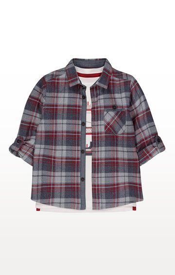 Mothercare | Burgundy And Grey Checked Shirt And T-Shirt Set
