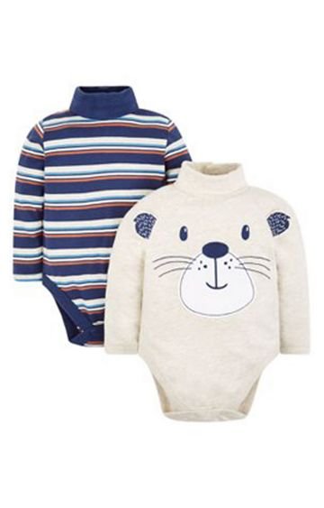 Mothercare | Grey Striped Bodysuits - 2 Pack