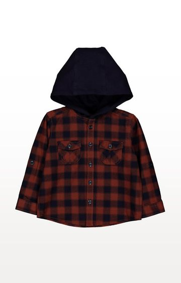 Mothercare | Rust And Navy Check Hooded Shirt