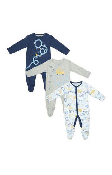 Mothercare   Little Hero Trucker Sleepsuits - 3 Pack