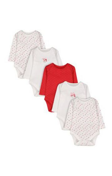 Mothercare | Floral Berry Bodysuits - 5 Pack