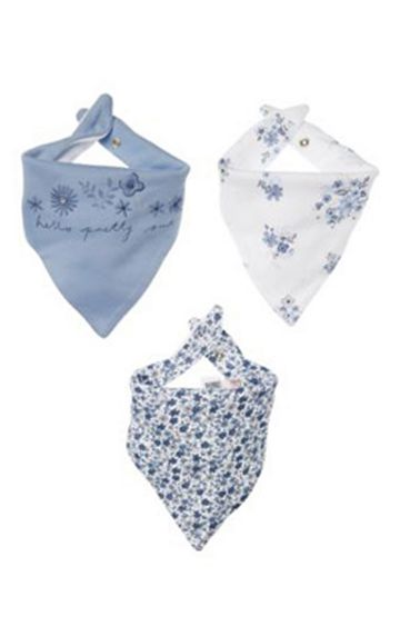 Mothercare | White and Blue Printed Bibs - Pack of 3