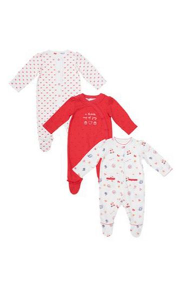 Mothercare | Tea Party Sleepsuits - 3 Pack
