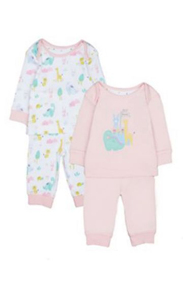 Mothercare | Pink Dinosaursaur Friends Pyjamas - 2 Pack